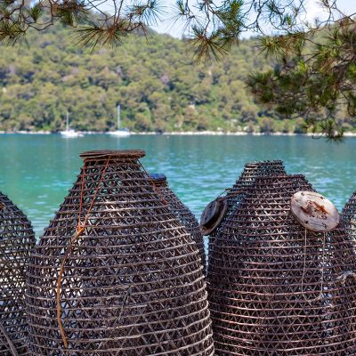Traditional-Croatian-fishing-traps.-Island-Mljet-near-Dubrovnik-Croatia.